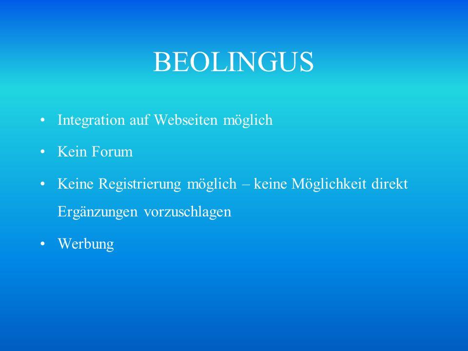 BEOLINGUS Integration auf Webseiten möglich Kein Forum