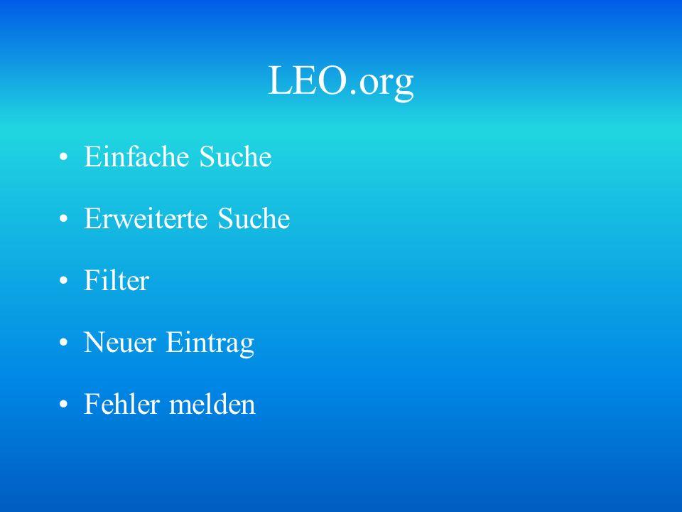 LEO.org Einfache Suche Erweiterte Suche Filter Neuer Eintrag