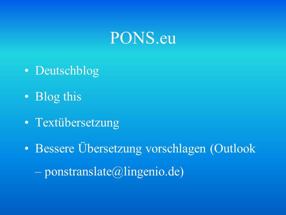 PONS.eu Deutschblog Blog this Textübersetzung