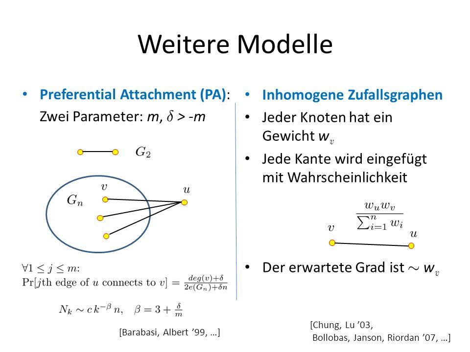 Weitere Modelle Preferential Attachment (PA):