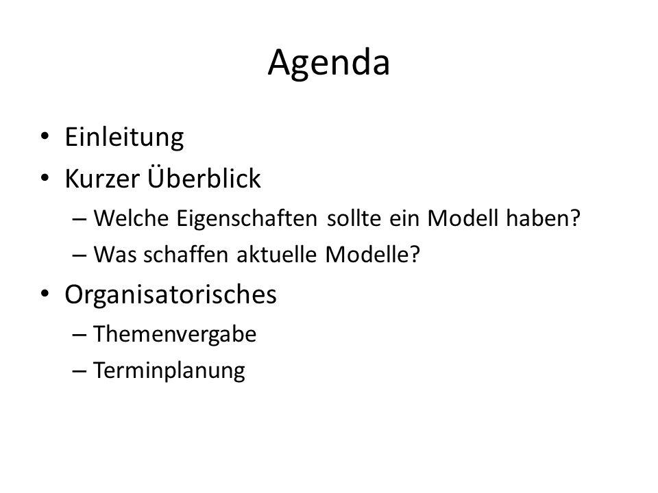 Agenda Einleitung Kurzer Überblick Organisatorisches