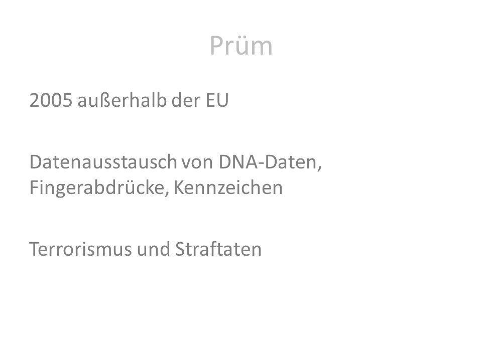 Prüm 2005 außerhalb der EU Datenausstausch von DNA-Daten, Fingerabdrücke, Kennzeichen Terrorismus und Straftaten