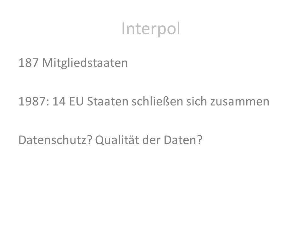 Interpol 187 Mitgliedstaaten 1987: 14 EU Staaten schließen sich zusammen Datenschutz.