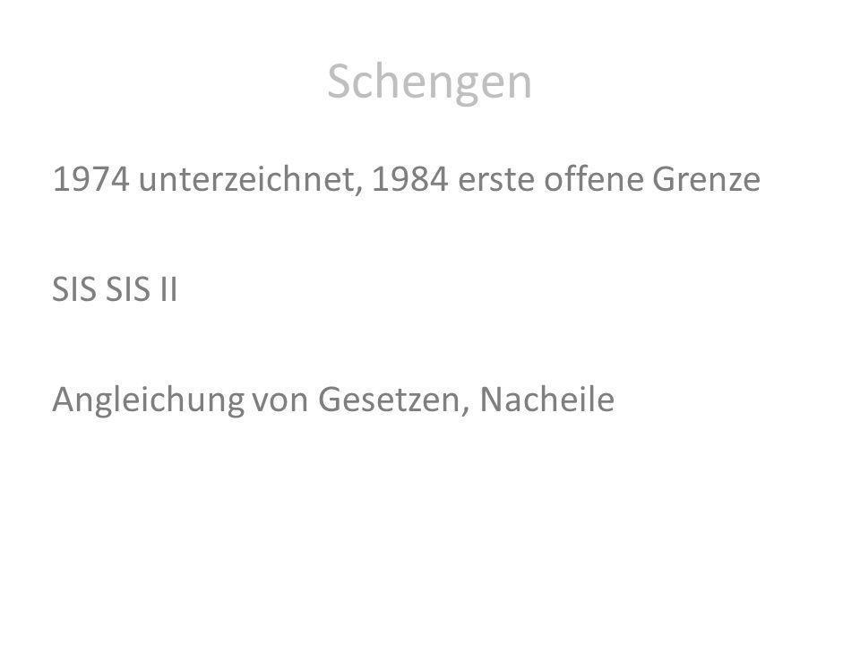 Schengen 1974 unterzeichnet, 1984 erste offene Grenze SIS SIS II Angleichung von Gesetzen, Nacheile