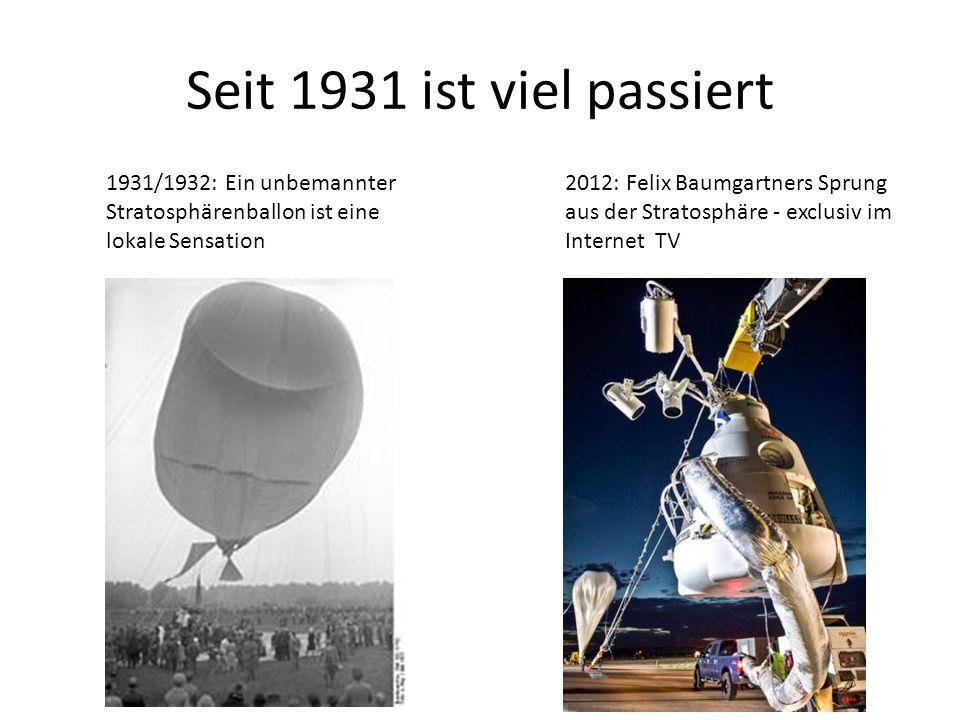 Seit 1931 ist viel passiert 1931/1932: Ein unbemannter Stratosphärenballon ist eine lokale Sensation.