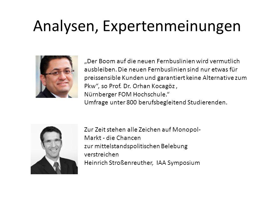Analysen, Expertenmeinungen