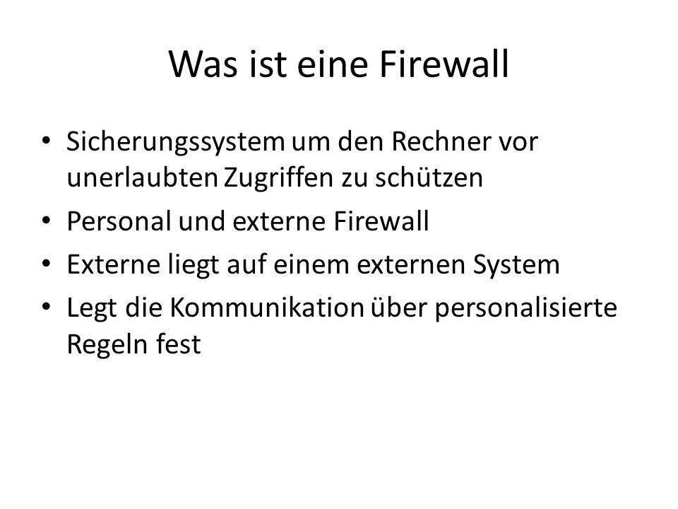 Was ist eine Firewall Sicherungssystem um den Rechner vor unerlaubten Zugriffen zu schützen. Personal und externe Firewall.