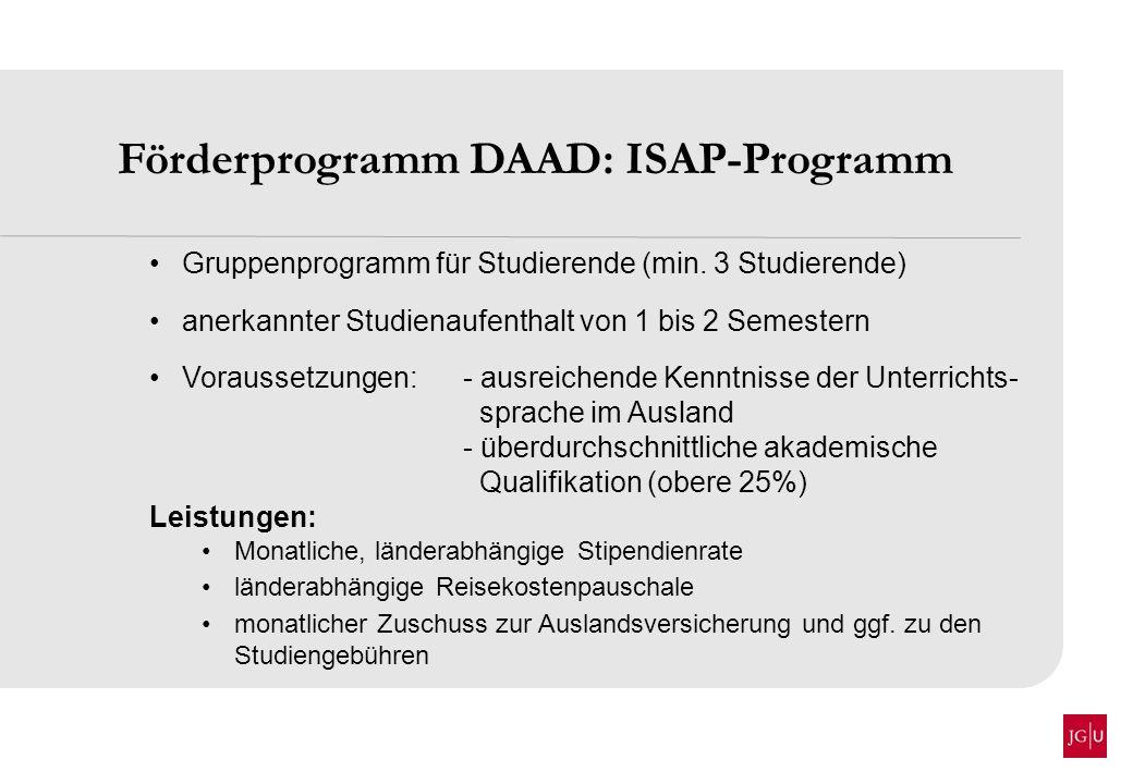 Förderprogramm DAAD: ISAP-Programm