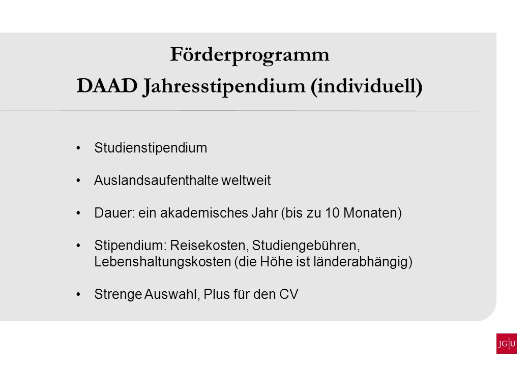 DAAD Jahresstipendium (individuell)