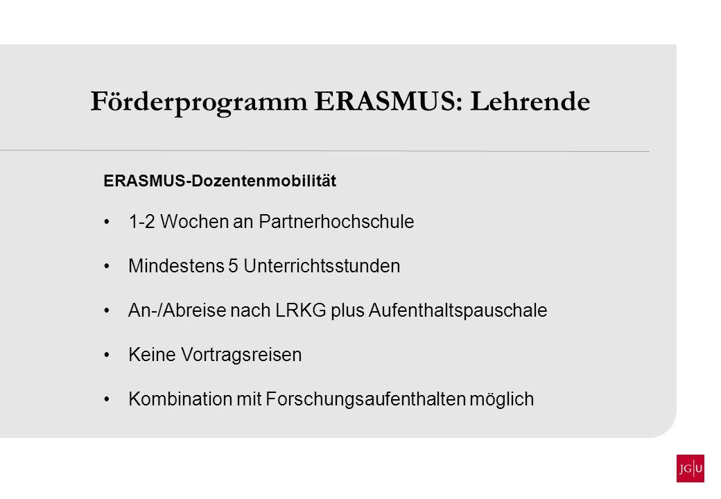 Förderprogramm ERASMUS: Lehrende