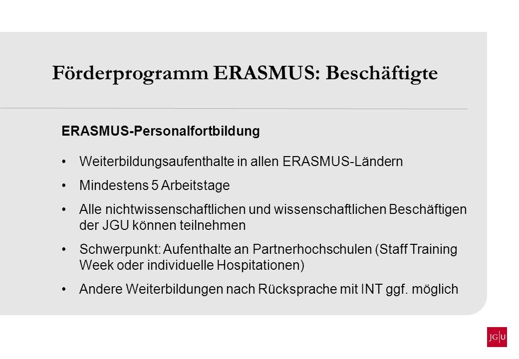 Förderprogramm ERASMUS: Beschäftigte
