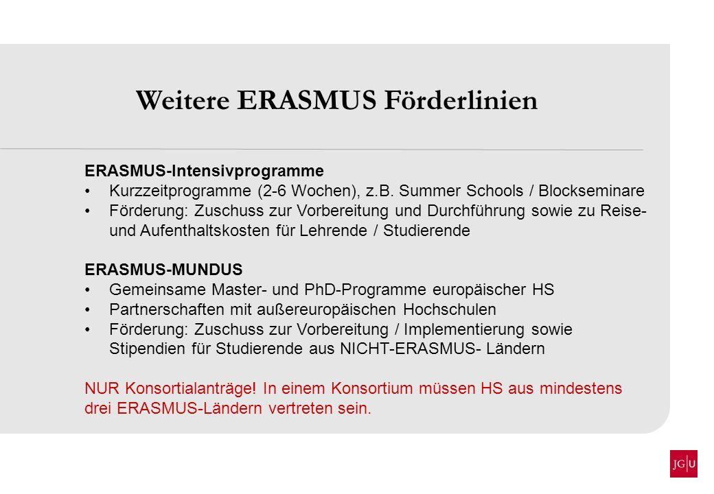 Weitere ERASMUS Förderlinien