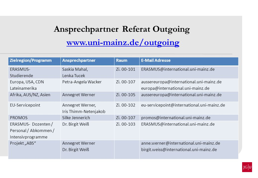 Ansprechpartner Referat Outgoing