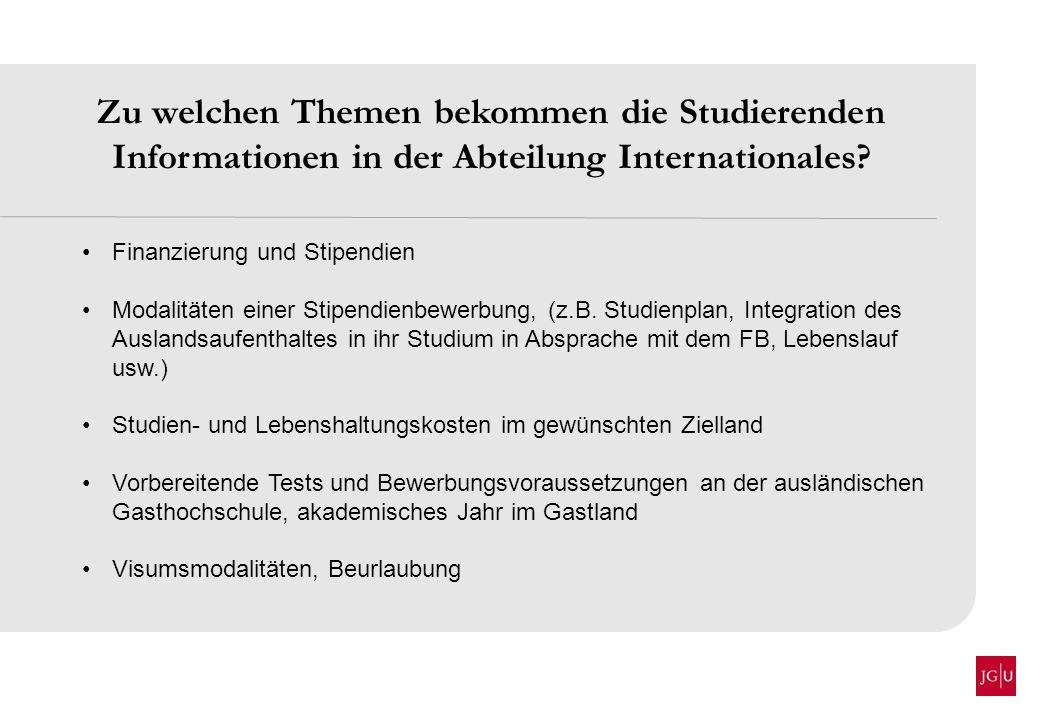 Zu welchen Themen bekommen die Studierenden Informationen in der Abteilung Internationales