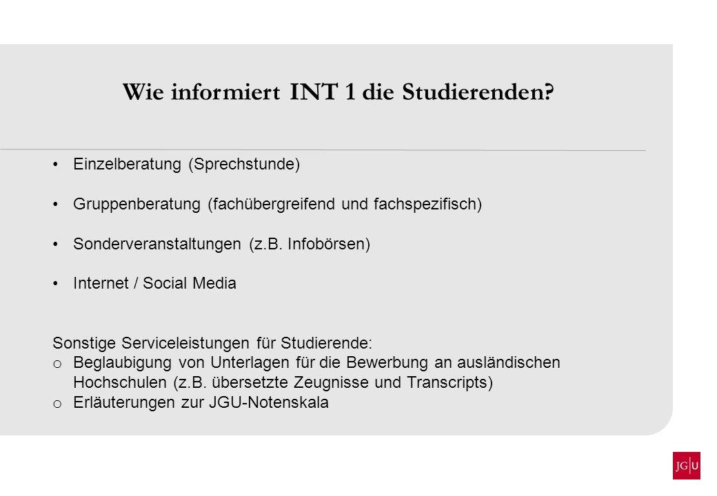 Wie informiert INT 1 die Studierenden