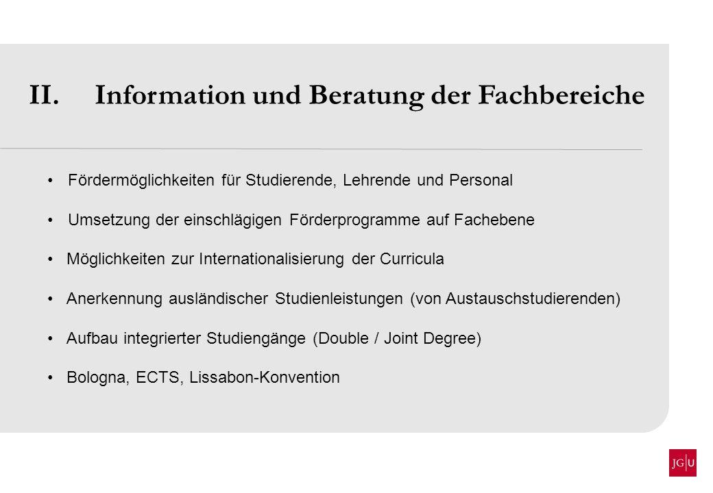 II. Information und Beratung der Fachbereiche