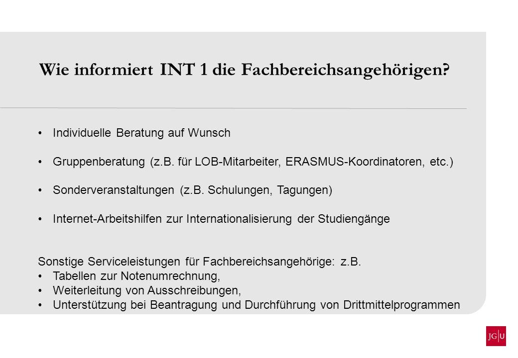 Wie informiert INT 1 die Fachbereichsangehörigen