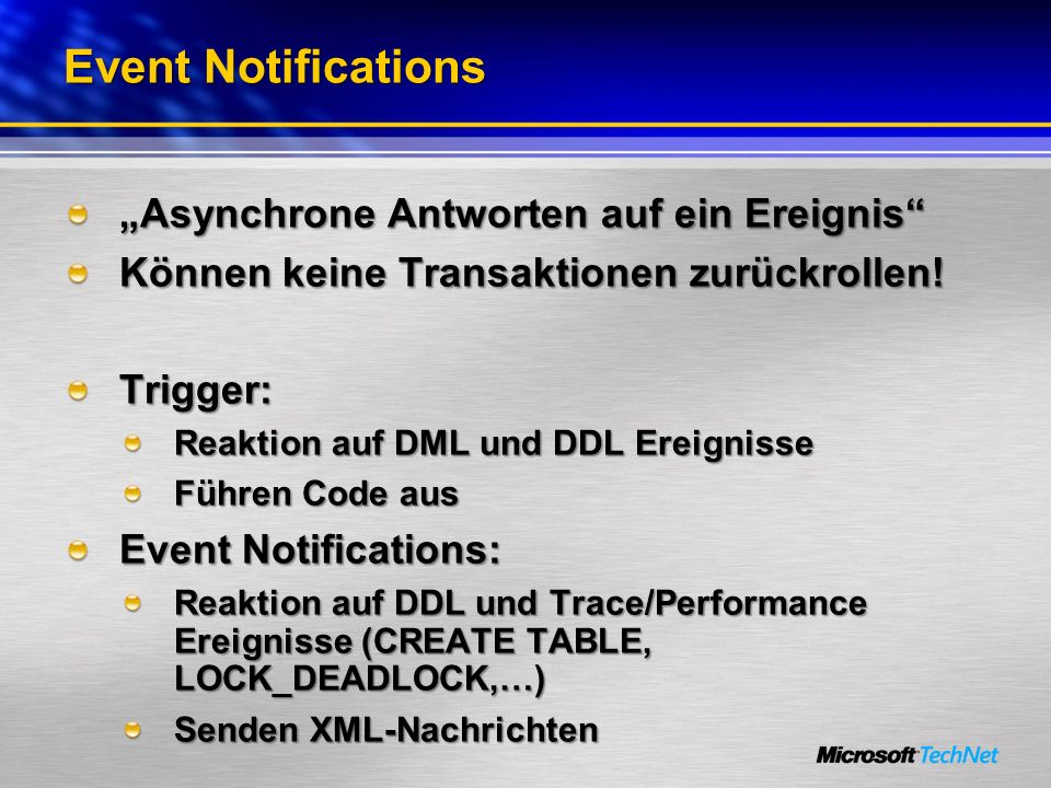 """Event Notifications """"Asynchrone Antworten auf ein Ereignis"""