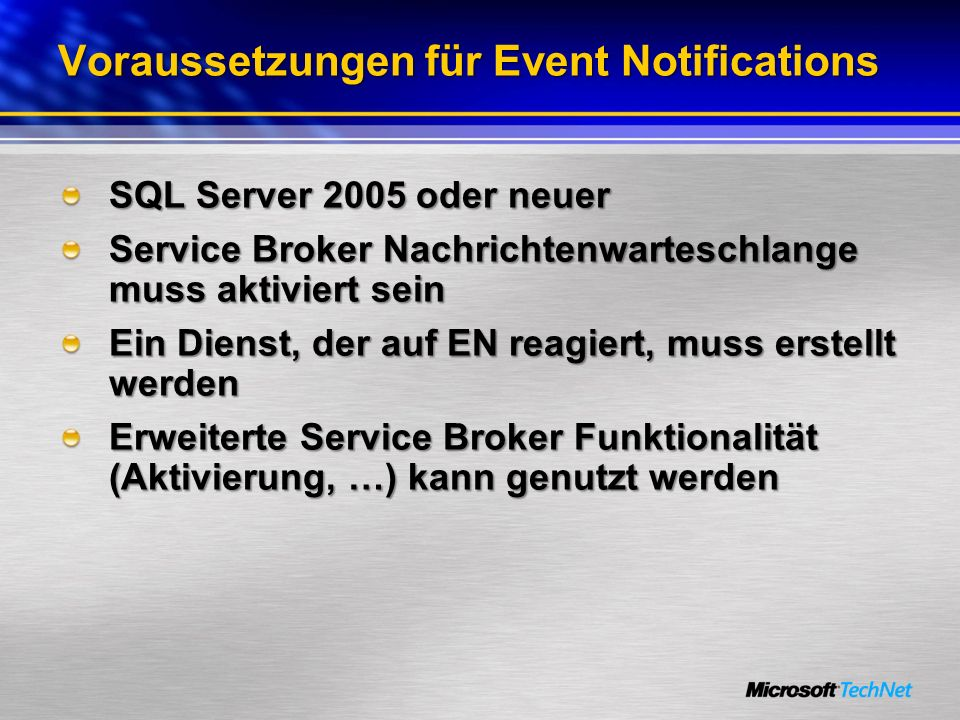 Voraussetzungen für Event Notifications