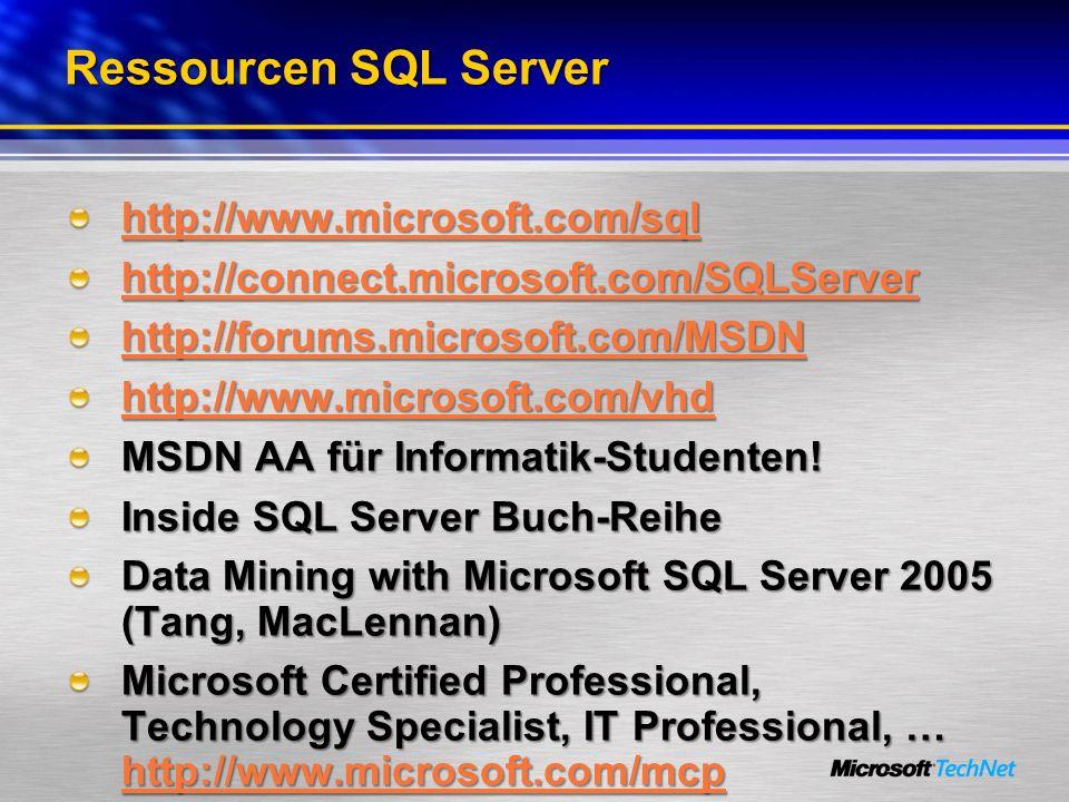 Ressourcen SQL Server http://www.microsoft.com/sql