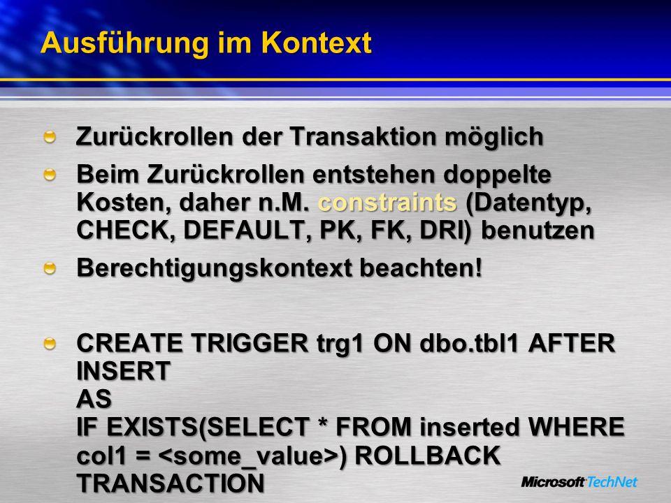 Ausführung im Kontext Zurückrollen der Transaktion möglich
