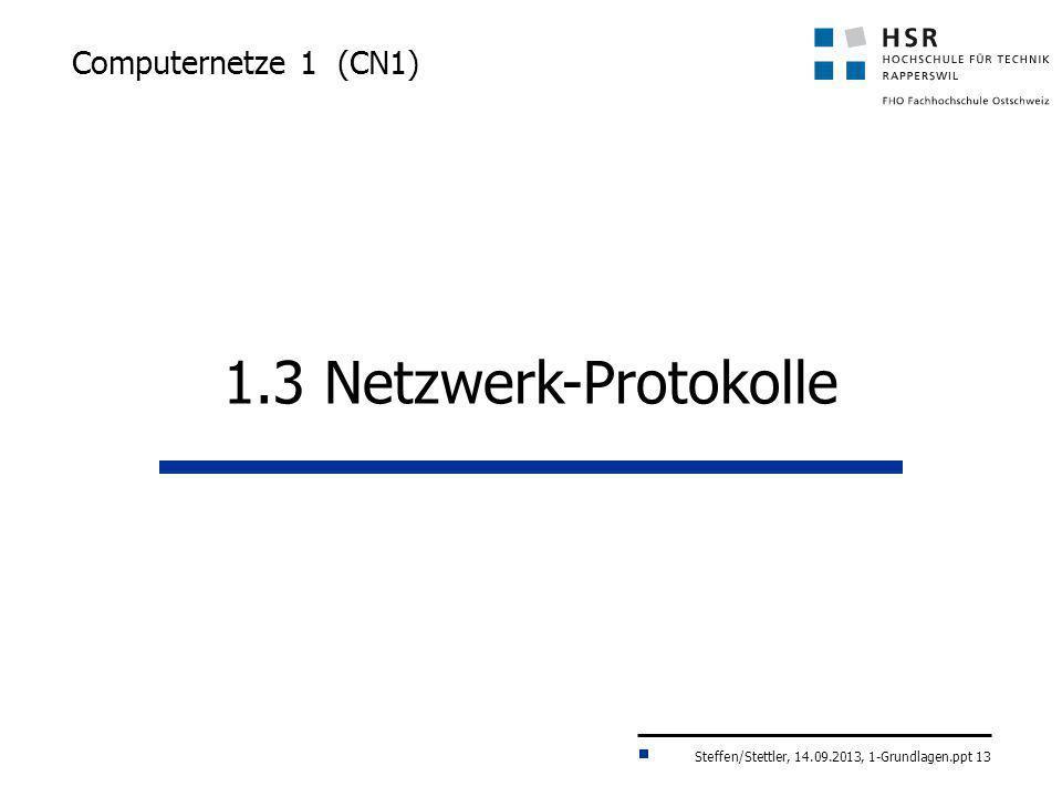 Computernetze 1 (CN1) 1.3 Netzwerk-Protokolle