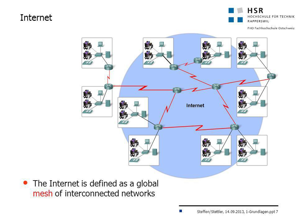 Internet The Internet is defined as a global mesh of interconnected networks