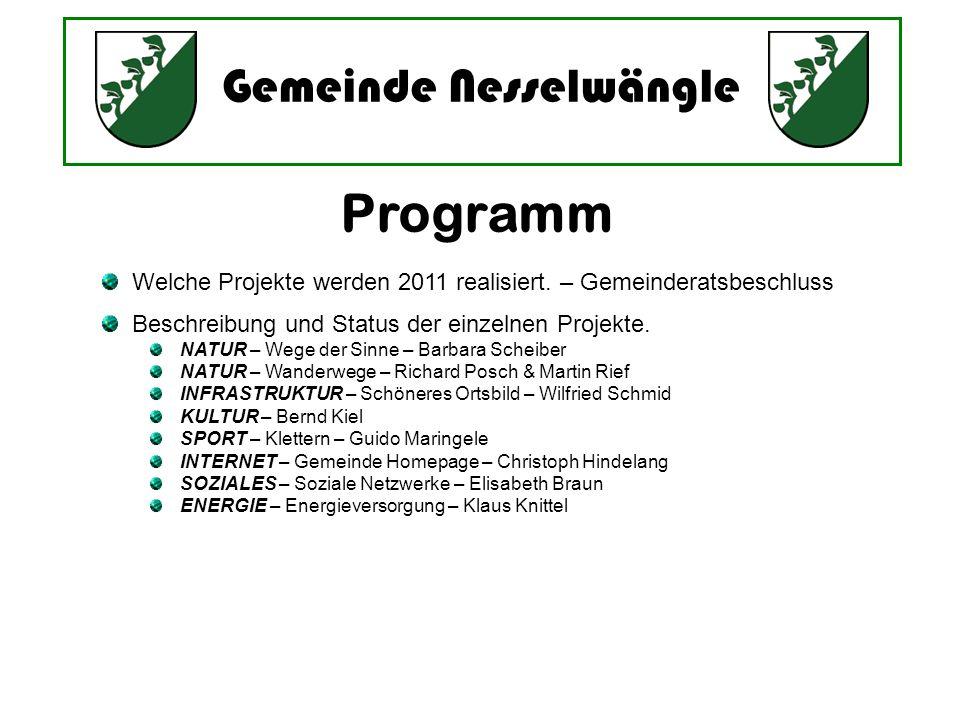 Programm Welche Projekte werden 2011 realisiert. – Gemeinderatsbeschluss. Beschreibung und Status der einzelnen Projekte.