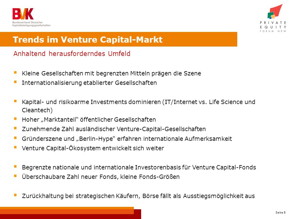 Trends im Venture Capital-Markt