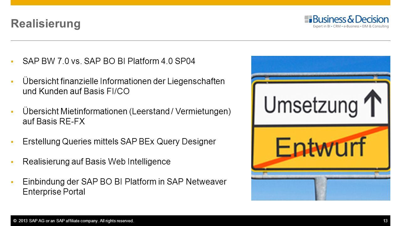 Realisierung SAP BW 7.0 vs. SAP BO BI Platform 4.0 SP04