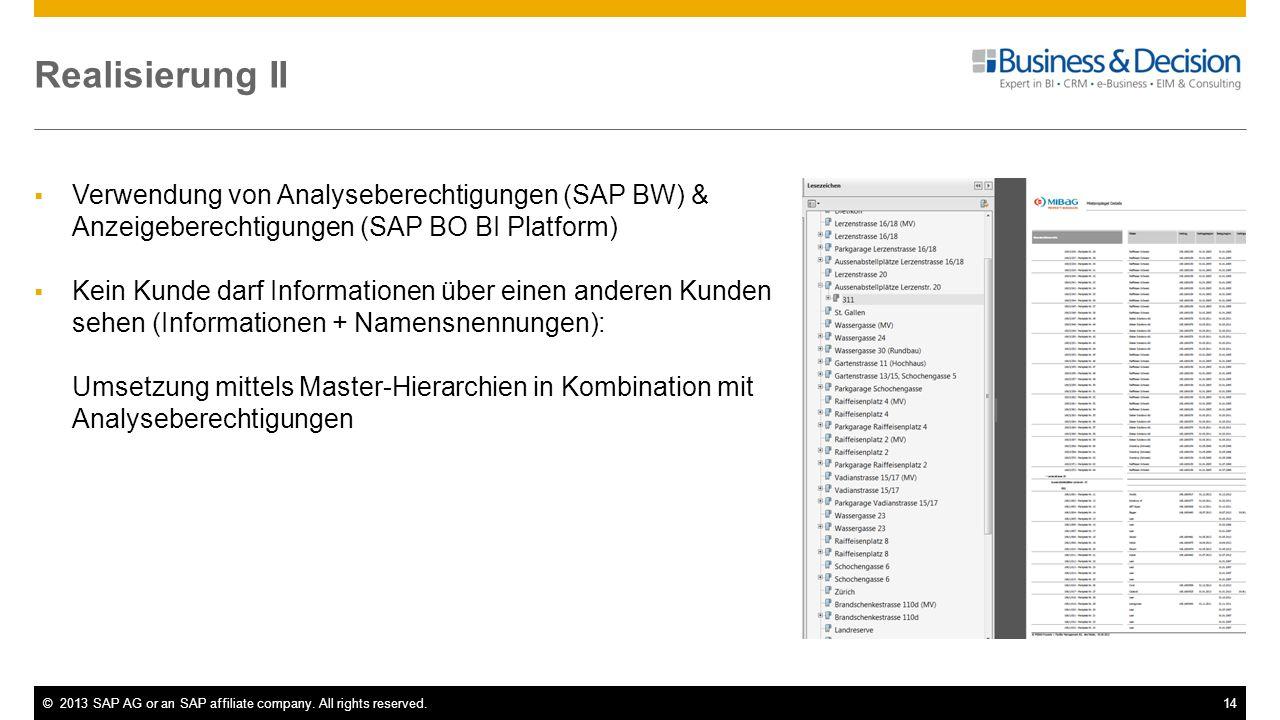 Realisierung II Verwendung von Analyseberechtigungen (SAP BW) & Anzeigeberechtigungen (SAP BO BI Platform)