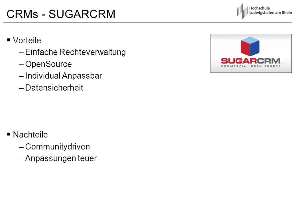 CRMs - SUGARCRM Vorteile Einfache Rechteverwaltung OpenSource