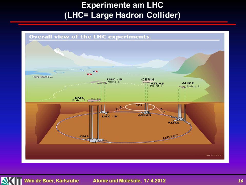 Experimente am LHC (LHC= Large Hadron Collider)
