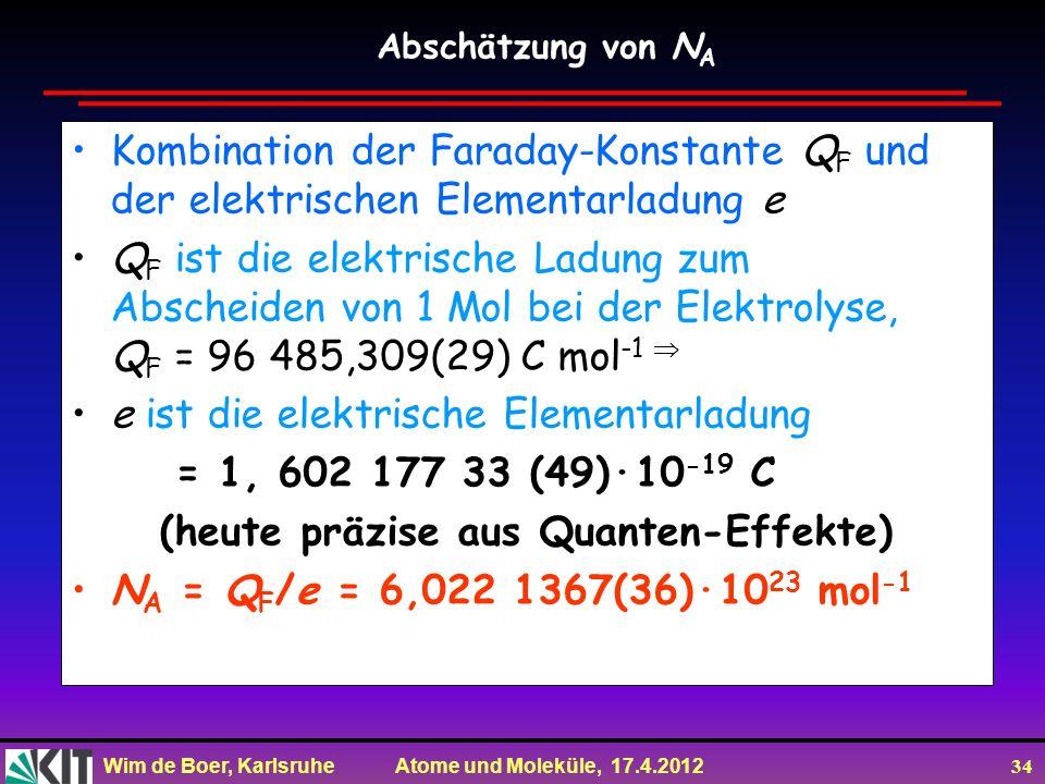 e ist die elektrische Elementarladung = 1, 602 177 33 (49)·10-19 C