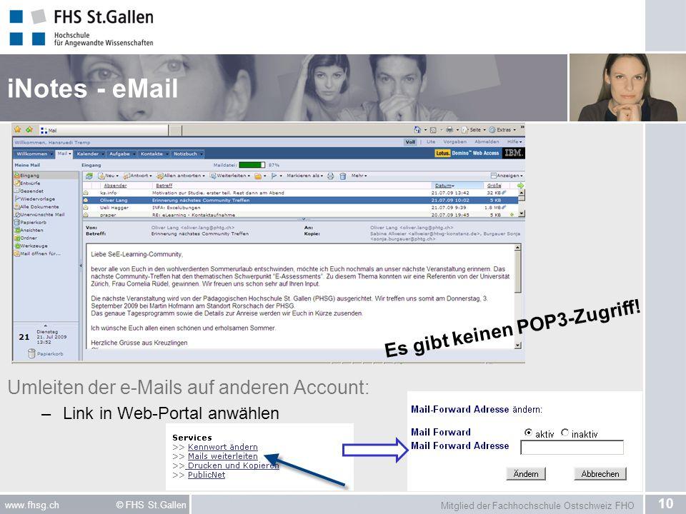 iNotes - eMail Umleiten der e-Mails auf anderen Account: