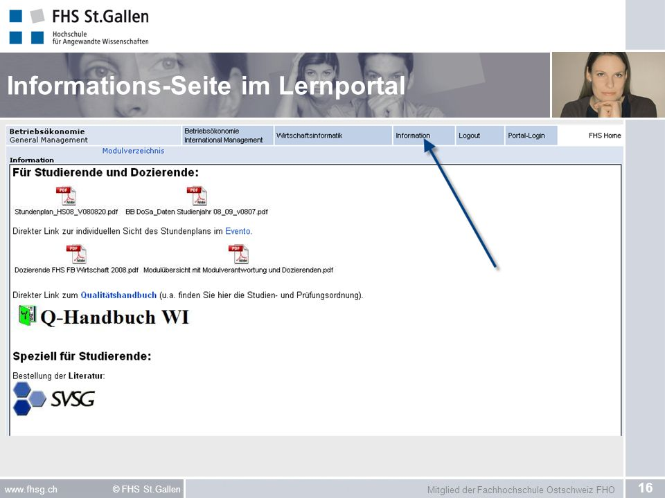Informations-Seite im Lernportal