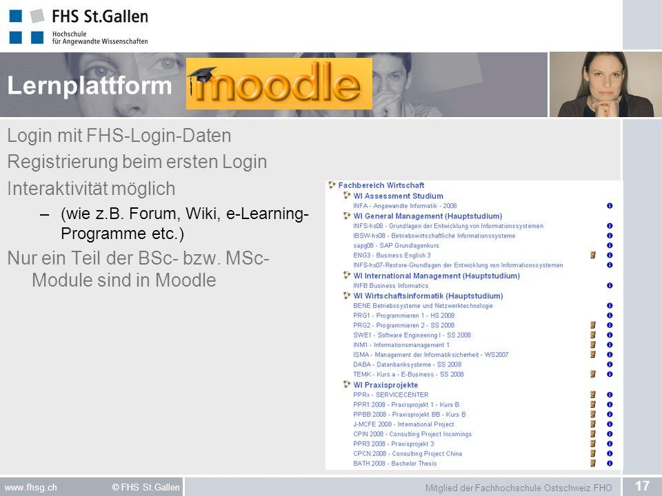 Lernplattform Login mit FHS-Login-Daten