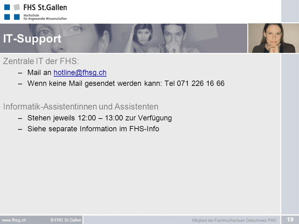 IT-Support Zentrale IT der FHS: