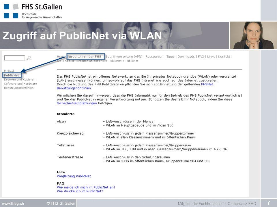 Zugriff auf PublicNet via WLAN