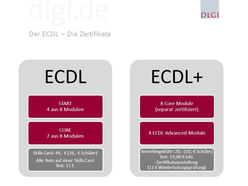 ECDL ECDL+ Der ECDL – Die Zertifikate START 4 aus 8 Modulen