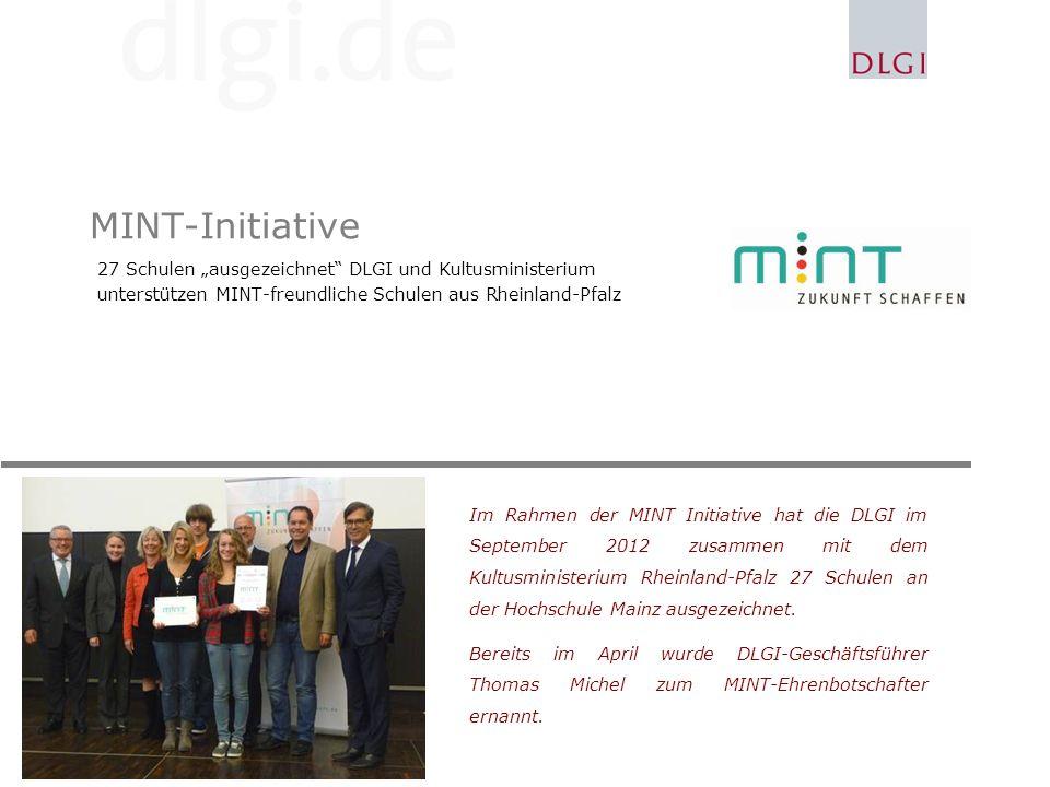 """MINT-Initiative 27 Schulen """"ausgezeichnet DLGI und Kultusministerium"""