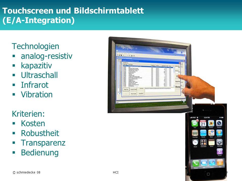 Touchscreen und Bildschirmtablett (E/A-Integration)