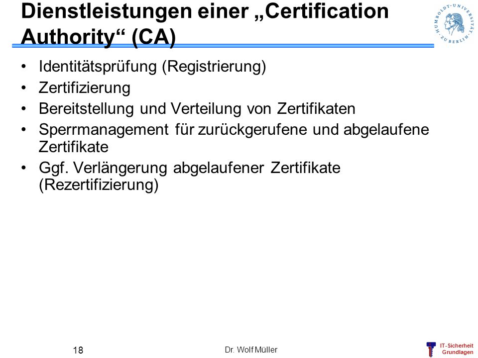 """Dienstleistungen einer """"Certification Authority (CA)"""