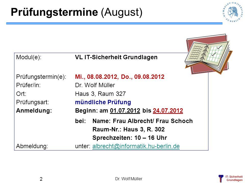 Prüfungstermine (August)