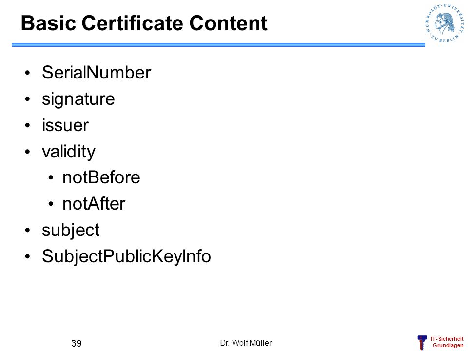 Basic Certificate Content