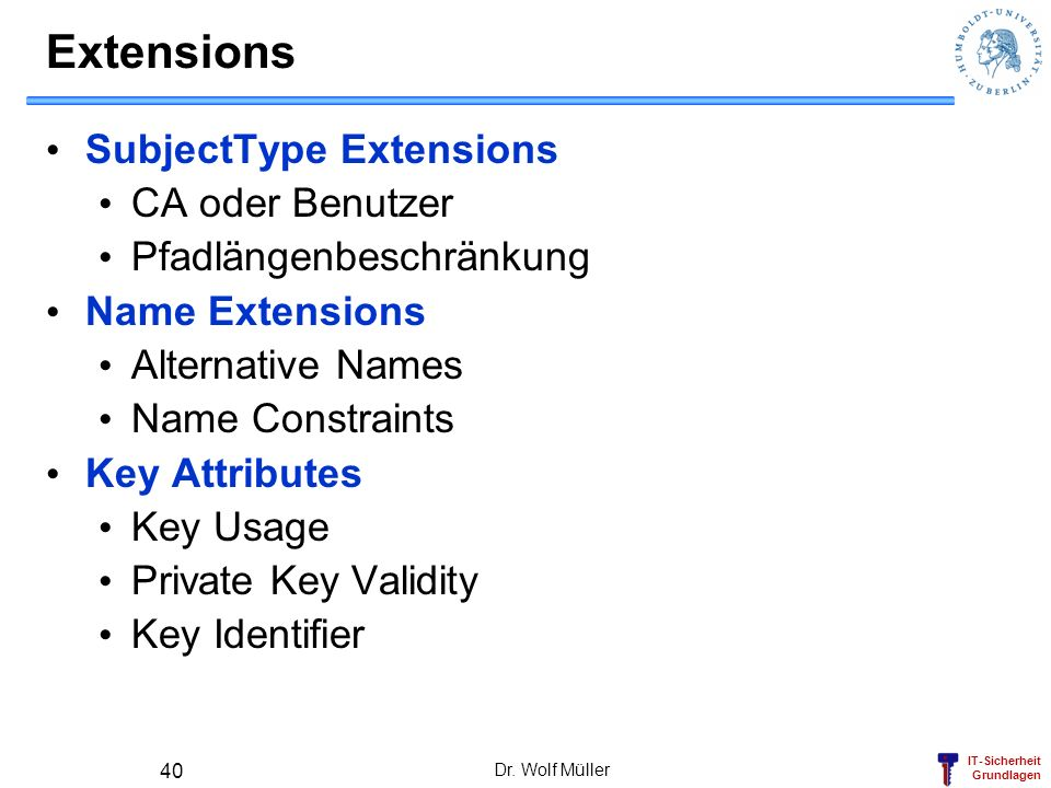 Extensions SubjectType Extensions CA oder Benutzer