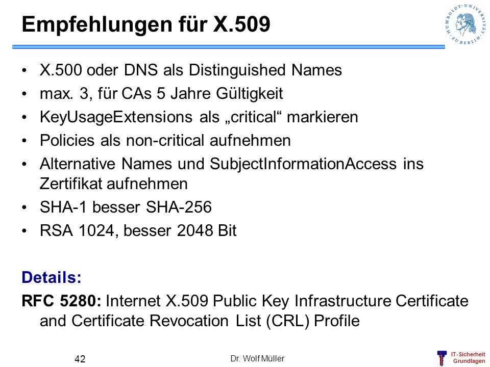 Empfehlungen für X.509 X.500 oder DNS als Distinguished Names