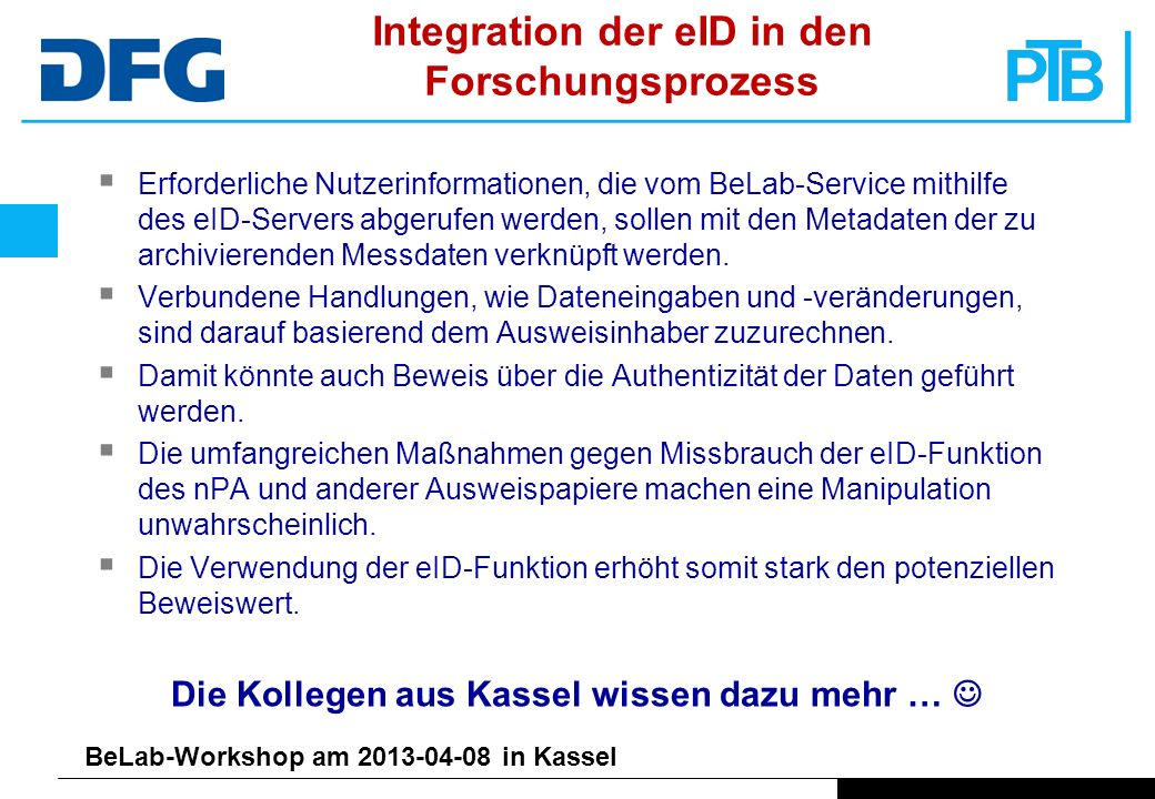 Integration der eID in den Forschungsprozess