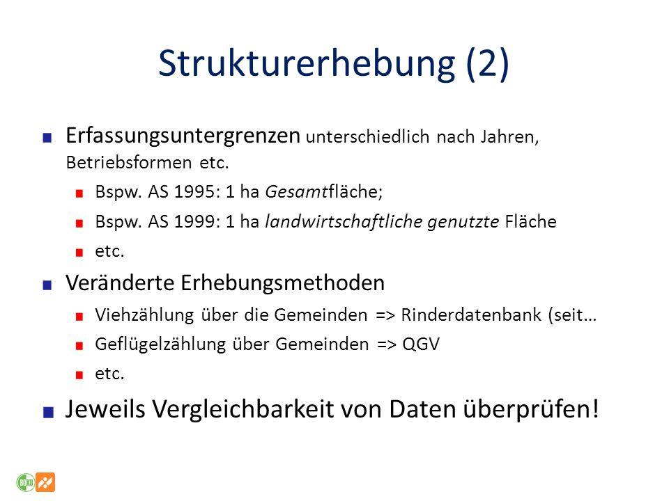 Strukturerhebung (2) Jeweils Vergleichbarkeit von Daten überprüfen!