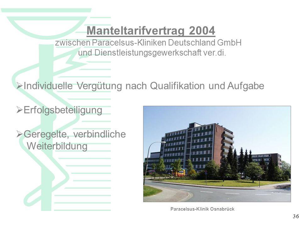 Manteltarifvertrag 2004 zwischen Paracelsus-Kliniken Deutschland GmbH. und Dienstleistungsgewerkschaft ver.di.